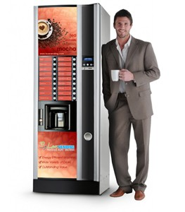 A man pretends to like vending machine coffee